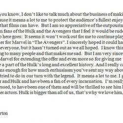 "Edward Norton: Statement On HULK Casting ""Hulk Is Bigger Than All Of Us"""