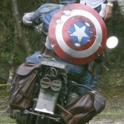Captain America Set Photos Featuring a Costumed Motorcycle Chase