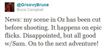 News: my scene in Oz has been cut before shooting. It happens on epic flicks. Disappointed, but all good w/Sam. On to the next adventure!